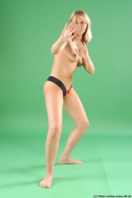 Whole Body Woman Fighting poses White Underwear Slim