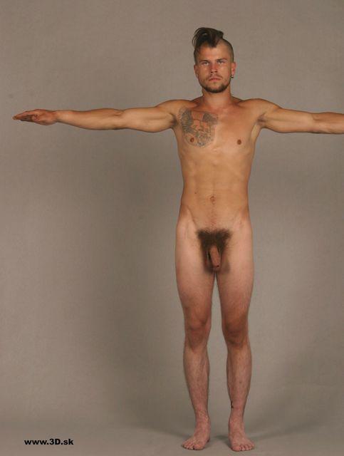 Whole Body Man Tattoo Nude Athletic Studio photo references