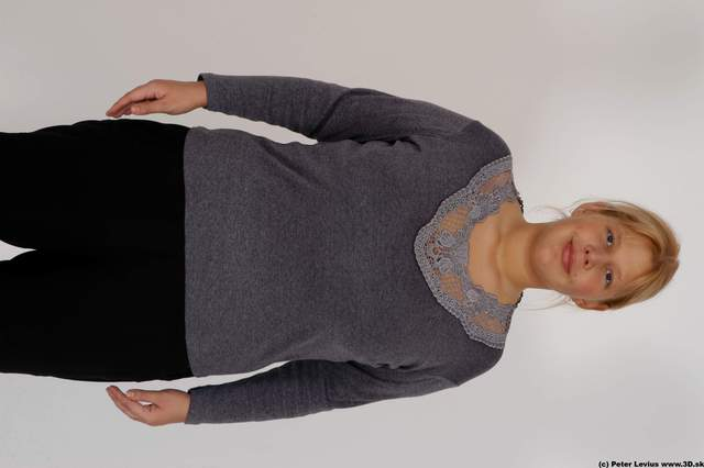 Upper Body Woman White Casual Overweight
