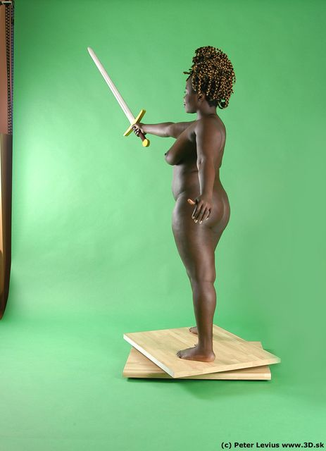 Whole Body Woman Pose with sword Black Nude Slim Chubby Walking Studio photo references