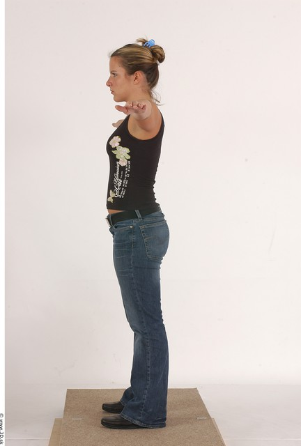 Whole Body Woman T poses Piercing Casual Underwear Shoes Slim Average Studio photo references