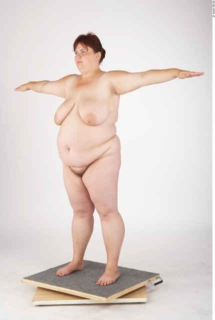Whole Body Woman Artistic poses T poses Nude Underwear Shoes Overweight Studio photo references