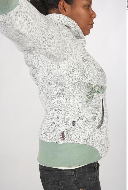Upper Body Whole Body Woman T poses Black Tattoo Casual Underwear Sweatshirt Windbreaker Chubby Studio photo references