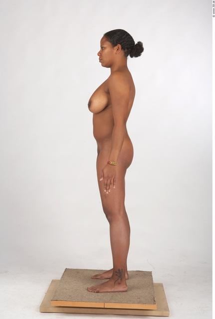 Whole Body Woman T poses Black Tattoo Nude Underwear Windbreaker Chubby Studio photo references