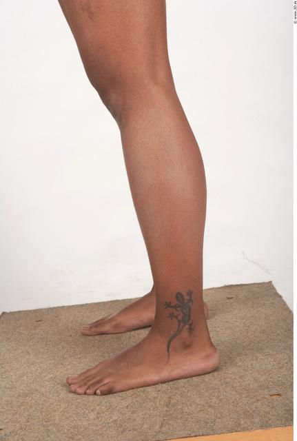 Calf Whole Body Woman T poses Black Tattoo Nude Underwear Windbreaker Chubby Studio photo references