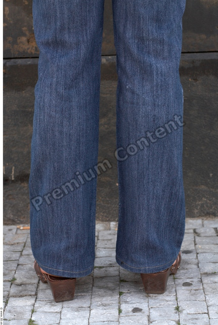 Calf Woman White Casual Jeans Average