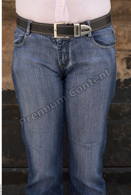 Thigh Woman White Casual Jeans Average