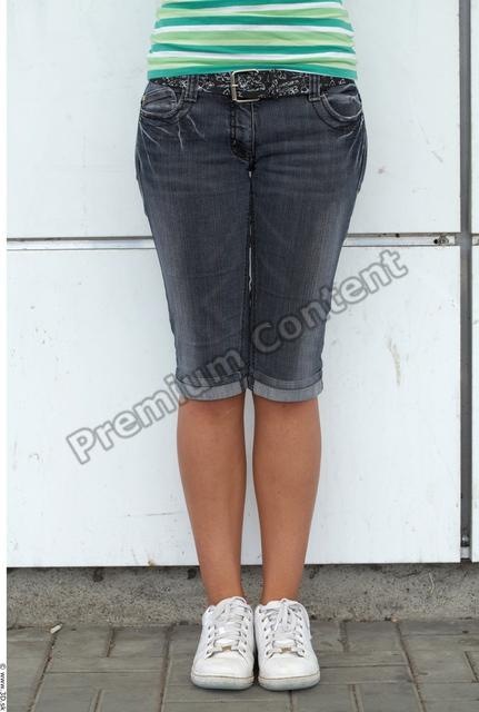 Leg Woman White Casual Shorts Slim