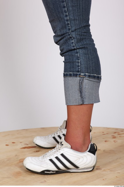Calf Whole Body Woman Nude Casual Jeans Muscular Studio photo references