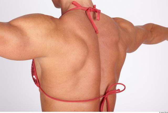 Whole Body Back Woman Nude Underwear Bra Muscular Studio photo references