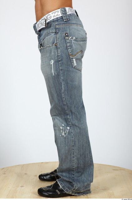 Leg Man Casual Jeans Muscular Studio photo references