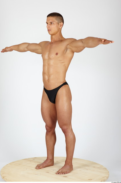 Whole Body Man T poses Sports Swimsuit Muscular Studio photo references