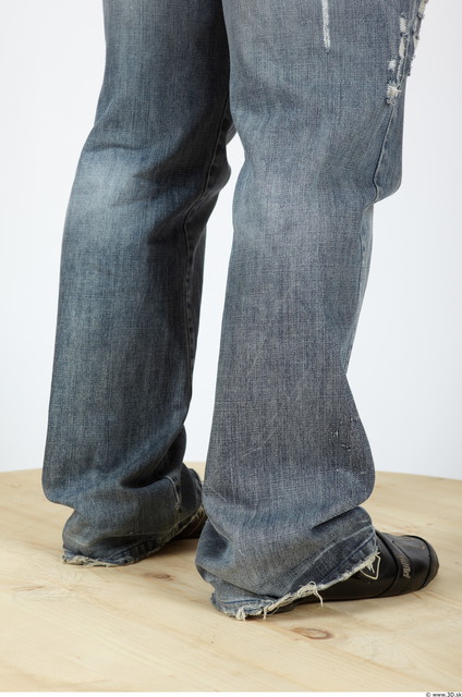 Calf Man Casual Jeans Muscular Studio photo references