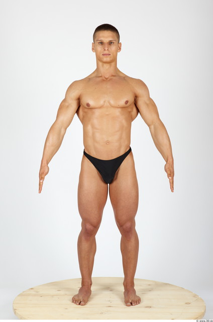 Whole Body Man Animation references Sports Swimsuit Muscular Studio photo references