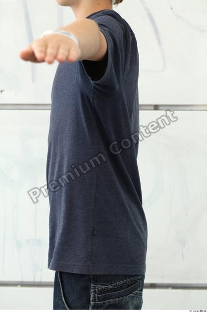Upper Body Man White Casual T shirt Slim