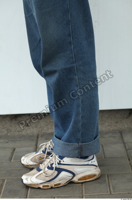 Calf Man White Casual Jeans Overweight