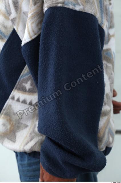 Forearm Man White Casual Sweatshirt Overweight