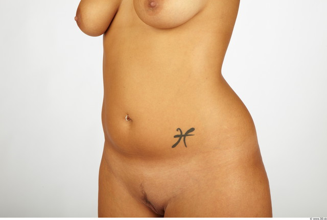 Belly Whole Body Woman Tattoo Nude Chubby Studio photo references