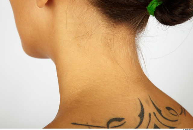 Neck Whole Body Woman Tattoo Nude Chubby Studio photo references