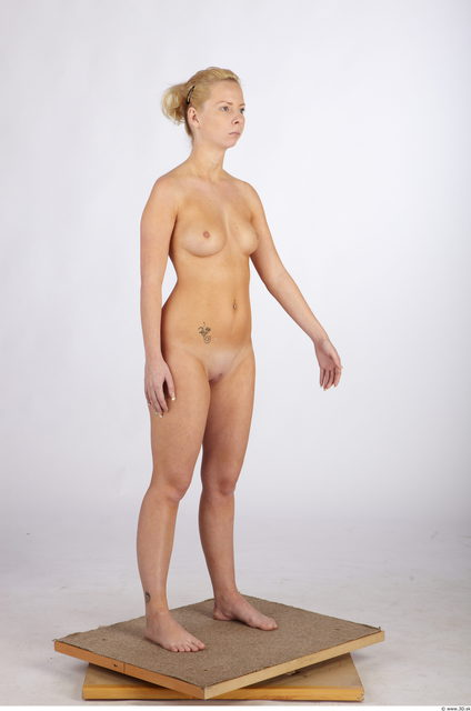 Whole Body Woman White Slim Studio photo references
