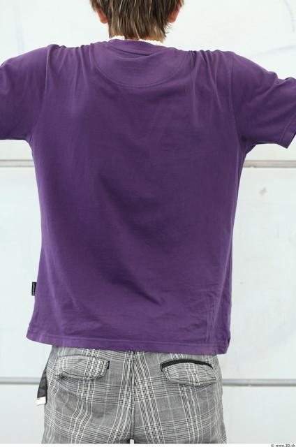Upper Body Man White Casual T shirt Average