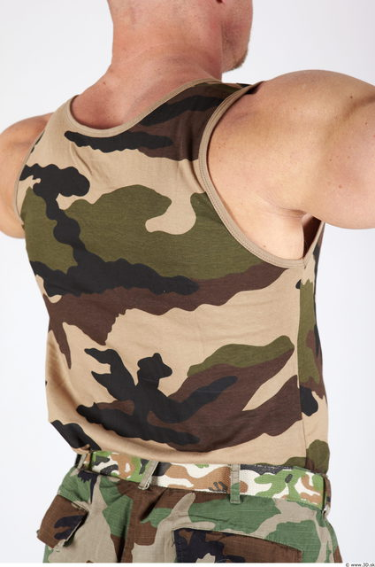 Upper Body Whole Body Man Army Singlet Muscular Studio photo references