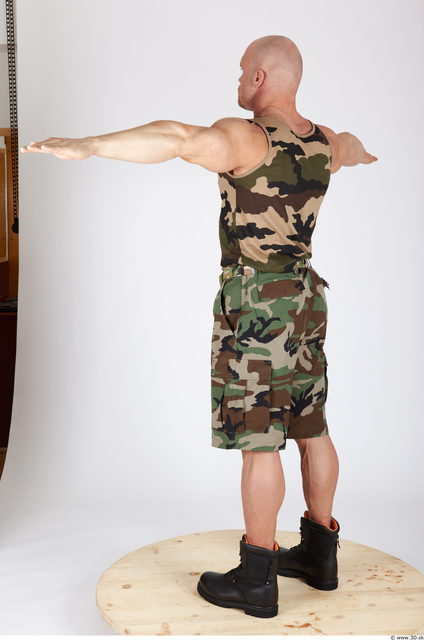 Whole Body Man T poses Army Muscular Studio photo references