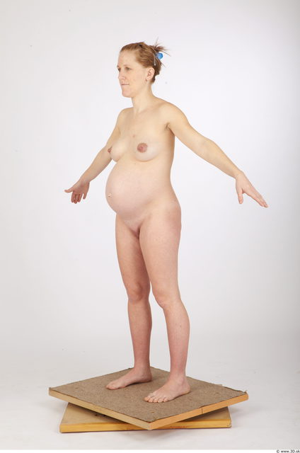 Woman White Nude Pregnant Studio photo references