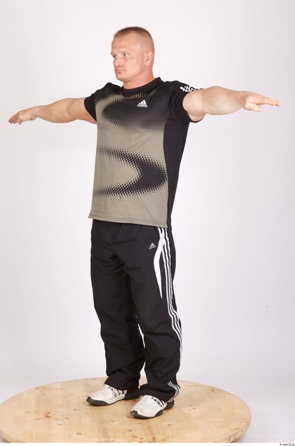 Whole Body Man T poses Sports Muscular Studio photo references