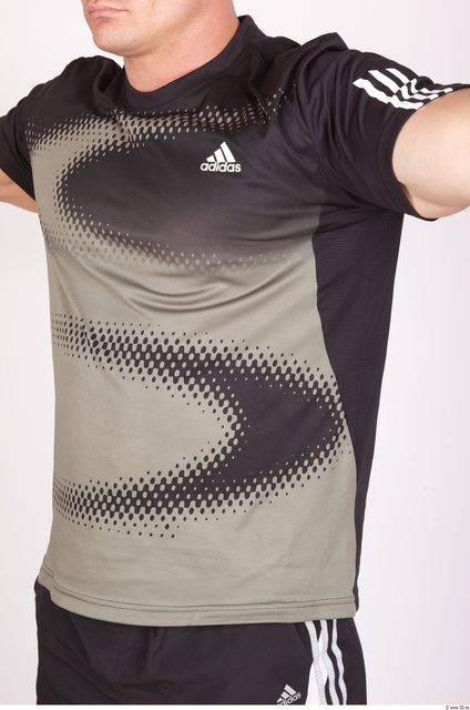 Upper Body Whole Body Man Sports Shirt T shirt Muscular Studio photo references