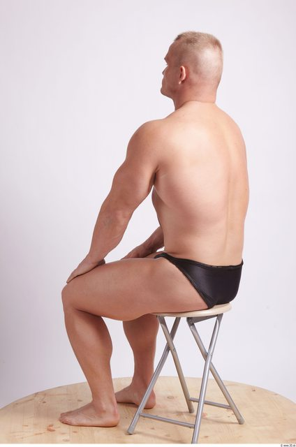 Whole Body Man Artistic poses White Sports Swimsuit Muscular