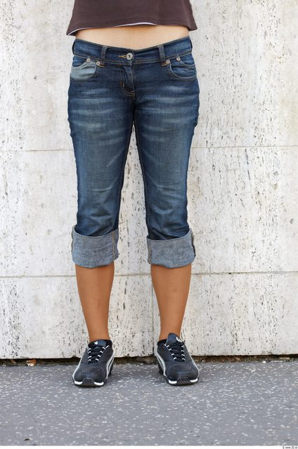 Leg Head Woman Casual Jeans Slim Average Street photo references