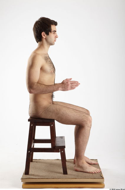 Whole Body Man Artistic poses White Hairy Nude Athletic