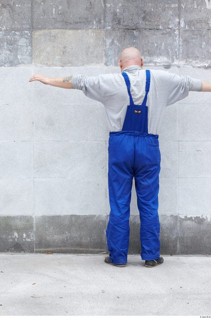 Whole Body Man T poses White Uniform Overweight Bald