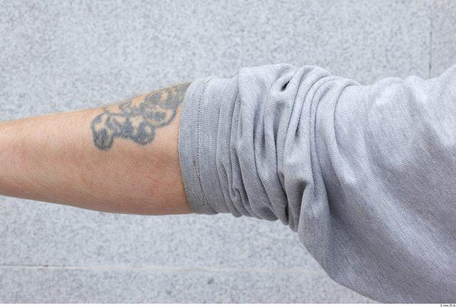 Forearm Man White Tattoo Uniform T shirt Overweight
