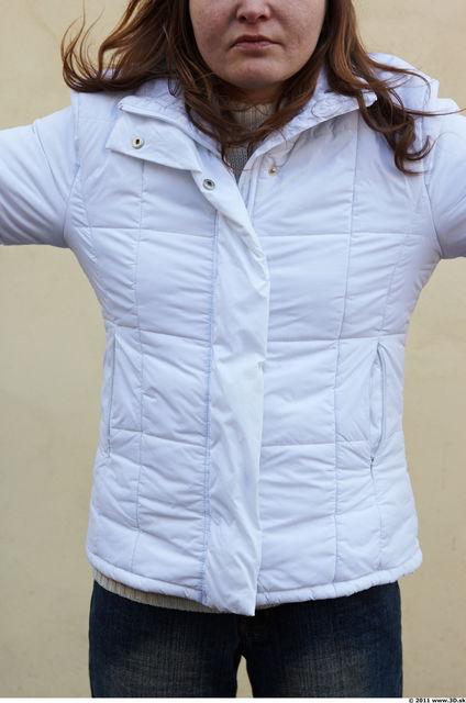 Upper Body Woman White Casual Windbreaker Slim