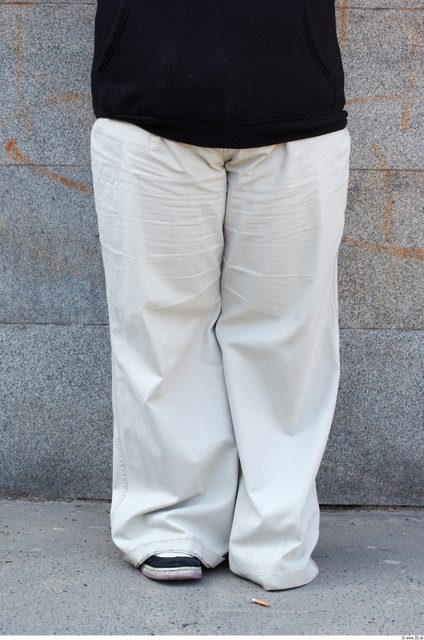 Leg Head Man Woman White Casual Trousers Overweight Bald Street photo references
