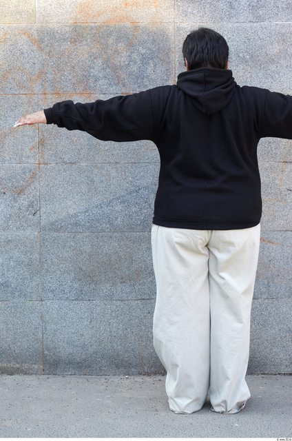 Whole Body Head Man Woman T poses White Casual Overweight Bald Street photo references