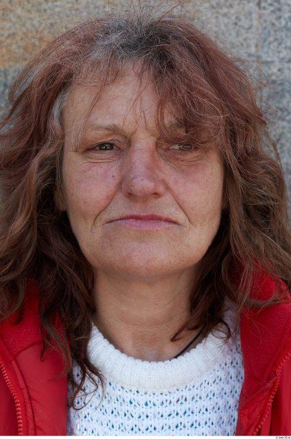 Head Woman White Slim Wrinkles