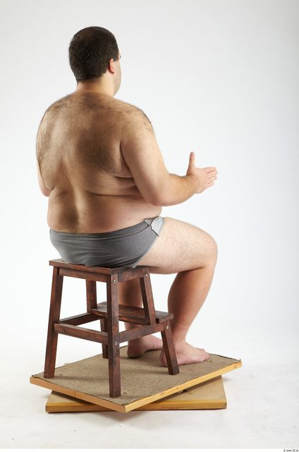 Whole Body Man Artistic poses White Hairy Underwear Pants Overweight