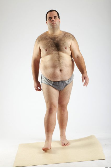Whole Body Man Animation references White Hairy Underwear Pants Overweight