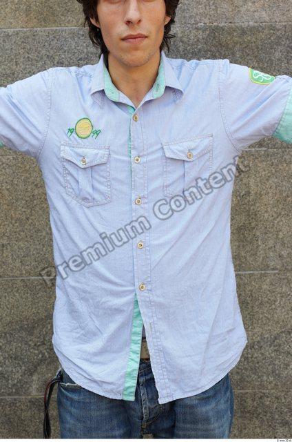 Upper Body Man White Casual Shirt Slim
