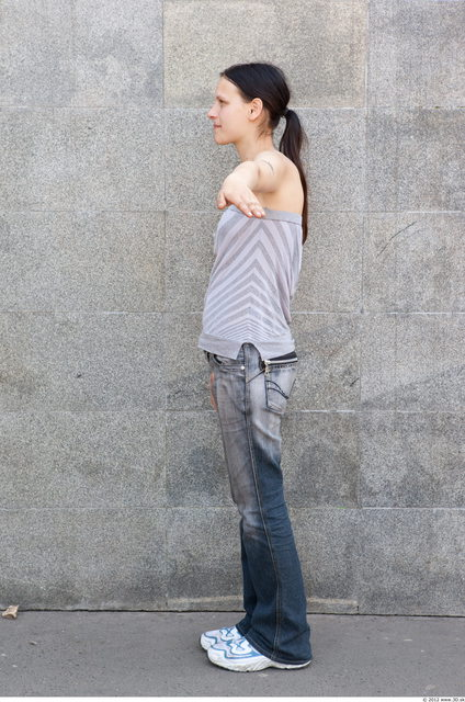 Whole Body Woman T poses White Casual Slim