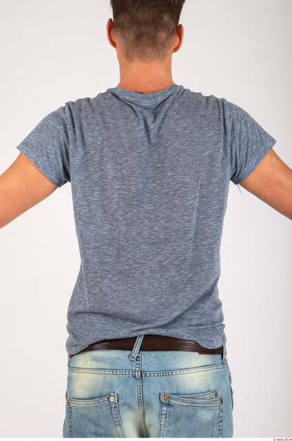 Upper Body Whole Body Man Casual Shirt T shirt Athletic Studio photo references
