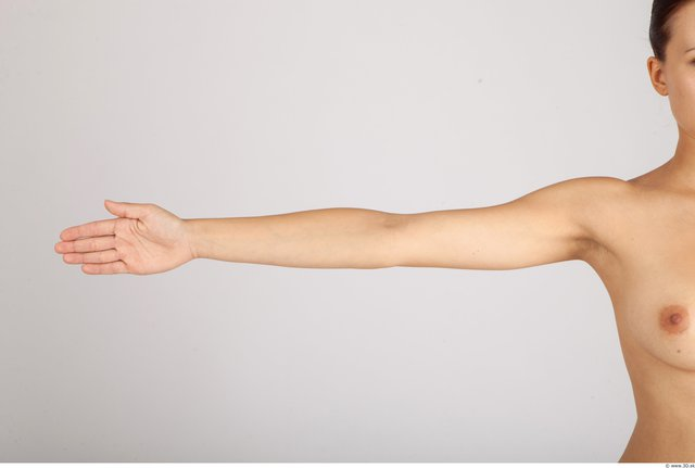 Arm Whole Body Woman Nude Casual Slim Studio photo references