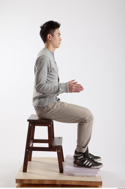 Whole Body Man Artistic poses Asian Casual Slim Studio photo references