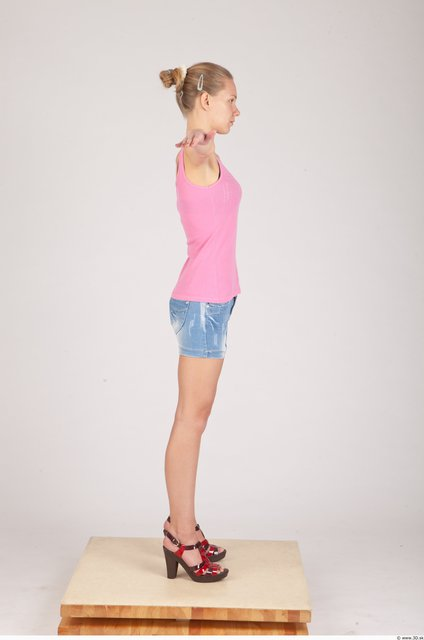 Whole Body Woman T poses Casual Slim Studio photo references