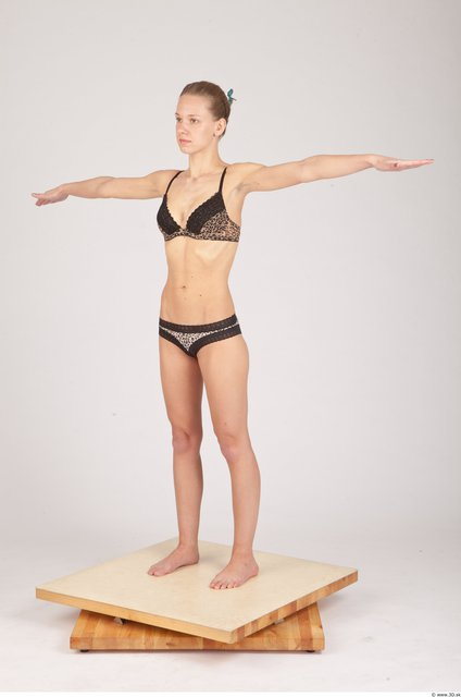 Whole Body Woman T poses Underwear Slim Studio photo references