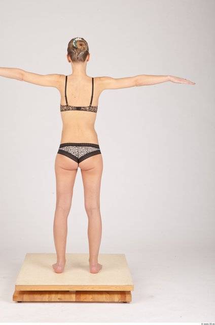 Whole Body Woman T poses Underwear Slim Studio photo references