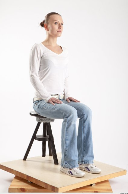 Whole Body Woman Artistic poses White Casual Slim
